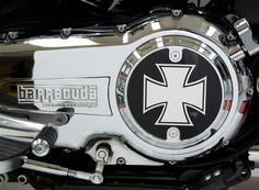 Slotted Style Chrome Iron / Maltese Cross Derby Cover for Victory Motorcycle Freedom Engines