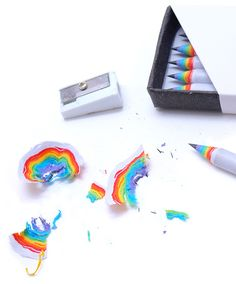 Rainbow Pencils by Duncon Shotton let you create beautiful paper rainbows when you sharpen them.