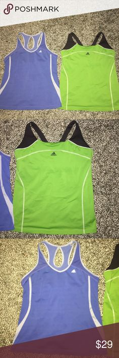Adidas women's workout shirts size XL Blue it's been worn couple times.. neon green only worn once like new condition.. both are size XL women's Top shirts Adidas Tops Tank Tops
