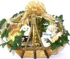 The perfect gourmet gift basket for the occasion! If they love gourmet tasty foods, they'll love this gourmet gift basket! Makes a beautiful office gift basket, birthday gift basket, or thank you gift basket! The Finest Treats Cheese, Crackers and Caviar Premium Gourmet Gift Basket | Christmas Gift Idea
