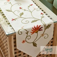 Pastoral embroidered fabric table runner,nordic linen coffee table cloths,tablecloth table towel-A Silk Ribbon Embroidery, Hand Embroidery Patterns, Cross Stitch Embroidery, Machine Embroidery, Coffee Table Cloth, Necktie Quilt, Diy Arts And Crafts, Embroidery Techniques, Fabric Painting