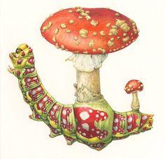 Asuka Hishiki Fungus Caterpillars - http://greenasas.com/works/fungus-caterpillars/