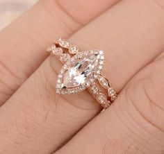 Marquise Morganite Engagement Ring Sets Pave Diamond Wedding 14K Rose Gold 5x10mm - Lord of Gem Rings - 3