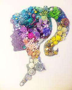 Mixed media button art girl profile