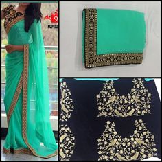 Mint green georgette Saree with black Emboridery blouse To purchase this product…