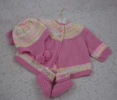 Baby Knitting Pattern - Download PDF Knitting Pattern - Sweater Set - Girls or Boys - Welcome Home Outfit - Reborn Dolls 0-6 Months