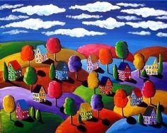 Fall Day Colorful Whimsical Folk Art von reniebritenbucher auf Etsy