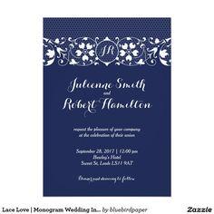 Lace Love   Monogram Wedding Invitation