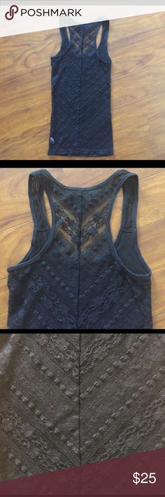 Ribbed tank top with sheer lace back Favorite layering tank right fitting perfect with a cute bralette or cami under, EUC lace is in perfect condition no tears it's not faded I just had to take pics of the black lace in direct sunlight to show detail American Eagle Outfitters Tops Tank Tops