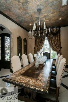 What An Exquisite Dining Room Design Idea European Decor Old World Mediterranean Italian Spanish Tuscan Homes