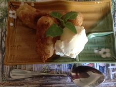 Banana Fritters and Icecream Light as a feather batter that is #glutenfree