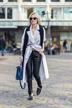 Lisa Hahnbueck wearing #leatherpants #leatherskinnypants http://www.leathercelebrities.com/photos/entry/lisa-hahnbueck-in-cologne/