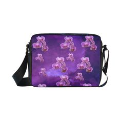 Purple Orchids Classic Cross-body Nylon Bag. FREE Shipping. #artsadd #bags #flowers