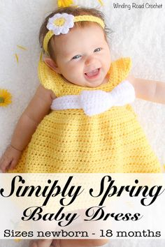 Simply Spring Crochet Baby Dress: Months This free baby dress crochet pattern is designed to be quick and simple to create for the beginner or expert crocheters alike. The pattern comes in size newborn through 18 months. Crochet Baby Dress Free Pattern, Crochet Baby Blanket Beginner, Black Crochet Dress, Baby Dress Patterns, Crochet Baby Clothes, Crochet Patterns, Crochet Dresses, Skirt Patterns, Crochet Ideas