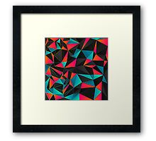Framed Print.  Abstract Geometric Pattern inspired by the colors of the sky and sunsets. Blue, Orange, Pink, Gray, Black. Find this print in fashion accessories, gift ideas, home decor, stationary and more.