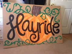Hayride sign for fall festival! Pta Programs, Fall Fest, Trunk Or Treat, Paper Shopping Bag, Harvest, Success, Yard, Signs, Halloween