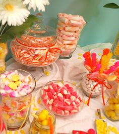 DIY Tutorial: Pink, Yellow, and Orange Candy buffet-Bright, fun and cheery! | Candy Galaxy