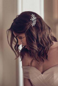 DREAMER crystal floral hair piece for Art Deco wedding in Elegant Wedding Hair, Wedding Hair Down, Wedding Hair And Makeup, Gown Wedding, Wedding Cakes, Wedding Rings, Wedding Dresses, Bridesmaid Hair Down, Bride Makeup