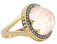 14k yellow gold rose quartz and brown diamond ring.