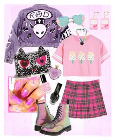 """pink girl (U 'ᴗ' U) ♡"" by mumachan on Polyvore featuring ファッション, CC, Dr. Martens と Karl Lagerfeld"