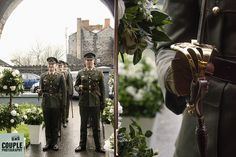 Soldiers waiting for the newlyweds to arrive. Galway Wedding Photographed by Couple Photography. Bradley Mountain, Newlyweds, Couple Photography, Soldiers, Military Weddings, Couples, Irish, Waiting, Bags