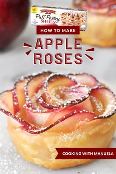 Impress your guests with a puff pastry dessert as delicious as it is beautiful using this Apple Roses recipe by Manuela of Cooking with Manuela. Perfect for your fresh-picked apples during the fall, a stunning Thanksgiving dessert, or holiday brunch Puff Pastry Desserts, Puff Pastry Recipes, Köstliche Desserts, Puff Pastry Apple Roses, Apple Strudel Puff Pastry, Baked Apple Roses, Apple Rose Pie, Tea Party Desserts, Hawaiian Desserts