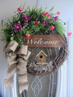I Like The Top And The Welcome Sign. Spring/Summer Wreath Birdhouse Wreath  By DoorWreathsByDesign