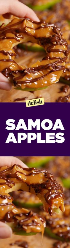 Samoa Apple Slices I'm thinking if I go light on the caramel and chocolate these might be reasonably healthy little desserts ; Fruit Recipes, Apple Recipes, Dessert Recipes, Cooking Recipes, Recipies, Cooking Pork, Healthy Desserts, Delicious Desserts, Yummy Food