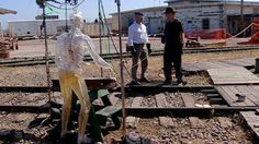 The MythBusters test the danger of responding to the call of nature on the electrified rail of a train track.