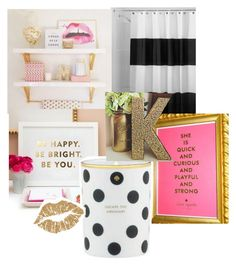 """Kate Spade Inspired Bathroom"" by katiemanlove ❤ liked on Polyvore featuring interior, interiors, interior design, home, home decor, interior decorating, InterDesign, Kate Spade and bathroom"