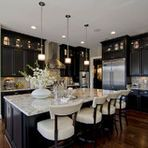 With this large space the use of black serves to make this a very elegant kitchen without a closed-in feel. Lovely.