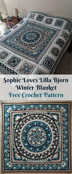 "[Free PDF Pattern] Sophie ""Loves Lilla Bjorn"" Winter Blanket a href='/tag/crochet' a href='/tag/homedecor' a href='/tag/crochetpattern' a href='/tag/crochetlove' Crochet Diy, Mandala Au Crochet, Crochet Afgans, Crochet Amigurumi, Crochet Motifs, Crochet Quilt, Crochet Blocks, Afghan Crochet Patterns, Crochet Squares"