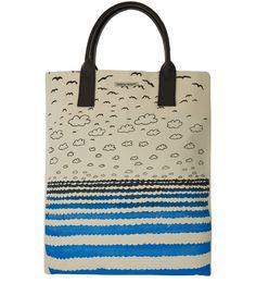 Simeon Farrar Blue and White Seaside Print Canvas Bag