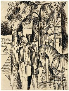 In the zoological garden August Macke Date: 1913 - 1914 Style: Expressionism Genre: genre painting Tag: gardens-and-parks Dimensions: x cm August Macke, Kandinsky, Zoological Garden, Expressionist Artists, Drawing Studies, A Level Art, Historical Art, Art World, Vintage Posters