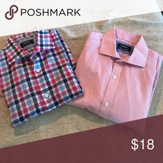 Dress shirt bundle Esquire slim fit dress shirts. Pink is a 15 neck. Checkered is 15.5 esquire Shirts