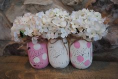 Shabby Chic hand-painted distressed Mason/Ball jars/vases - baby girl shower gift or centerpiece/baby nursery