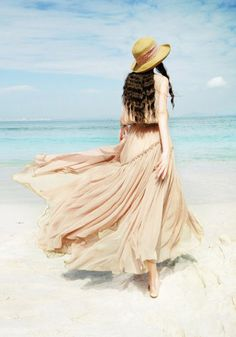 Ruching Maxi Dress - Apricot - Asymetric Pleated Layers At Skirt