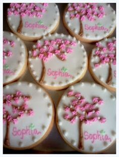 Cherry Blossom Shower Cookies