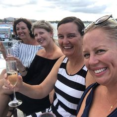 Girls weekend underway!  #cheers #secretgirlsweekend #sunset #cruise #champagne