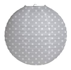 White Polka Dots on Grey Paper Lantern