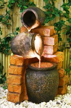 3 Step Jug Jar Water Feature Fountain Cascade Rustic Ancient Clay Pottery Effect 5060119850144 Indoor Water Fountains, Indoor Fountain, Garden Fountains, Fountain Ideas, Garden Pool, Water Garden, Waterfall Fountain, Pond Landscaping, Water Features In The Garden