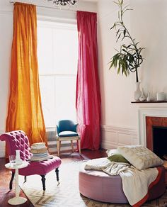 Affordable Ways To Add Glamour To Your Home ~ Hang Extralong Curtains...