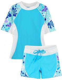 475806f9c8e Tuga UPF 50+ Girls Seaside Short Sleeve Top and Shorts (UV Sun Protective)