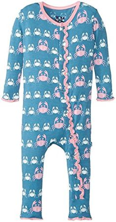 KicKee Pants Baby Girls Print Fitted Ruffle Coverall Prdkprc577blmc Blue Moon Crabby Preemie * To view further for this item, visit the image link.Note:It is affiliate link to Amazon.