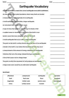 Worksheets On Earthquakes   School   Pinterest   Worksheets, Teacher ...