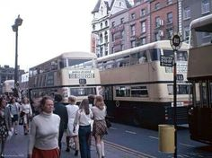 Dublin street view of the People in their daily life surrounded by CIE buses. Dublin, Westmorelandstreet / O'Connell Street - Summer 1968 © 1968 - Amsterdam RAIL - All Rights Reserved Dublin Street, Dublin City, Old Pictures, Old Photos, Marine Bases, Dublin Travel, Buses And Trains, Dresden Germany, Ireland Homes