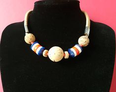 Vintage 70's chic CORK BALL and LUCITE Bead Red, White & Blue  Nautical Choker