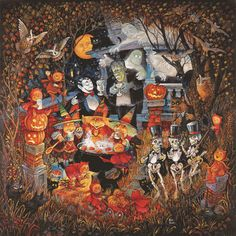 Halloween monsters and lots of cats around a steaming cauldron. Halloween Monsters Night Out by Bill Bell from Canvas On Demand. Abstract Canvas, Canvas Wall Art, Wall Art Prints, Bell Art, Lots Of Cats, Thing 1, Vintage Halloween, Halloween Queen, Halloween Images