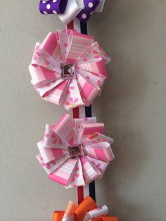 Flower Hair Bows by DaddyGirlshairbows on Etsy