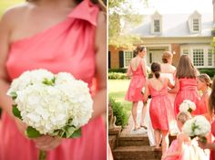coral bridesmaid one shoulder dress